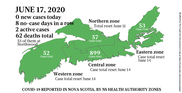Map of COVID-19 cases in Nova Scotia as of June 17, 2020. - THE COAST