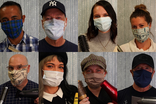 Thumpers stylists masked up for re-opening of salons. - THUMPERS SALON