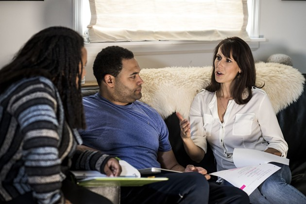 Amy Trefry (right) sits with actor Jacob Sampson and actor/co-creator Koumbie on the set of I Hear You. - SUBMITTED