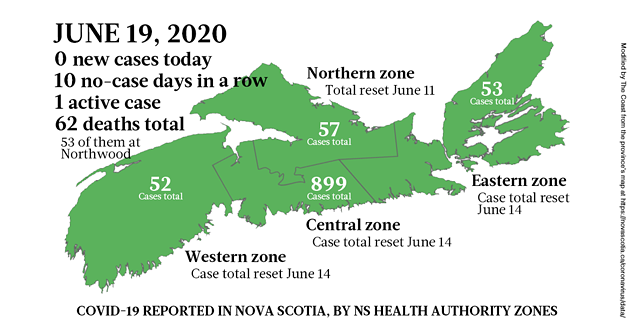 Map of COVID-19 cases in Nova Scotia as of June 19, 2020. - THE COAST
