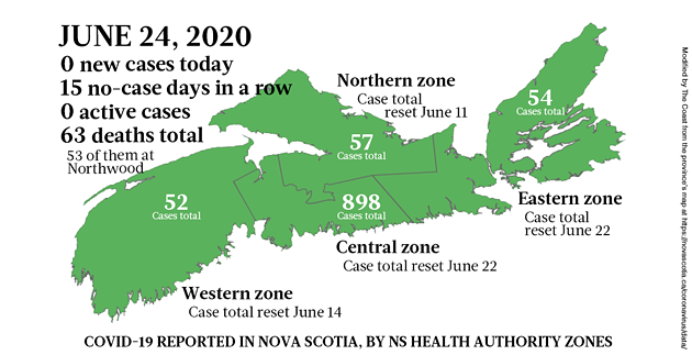 Map of COVID-19 cases in Nova Scotia as of June 24, 2020. - THE COAST