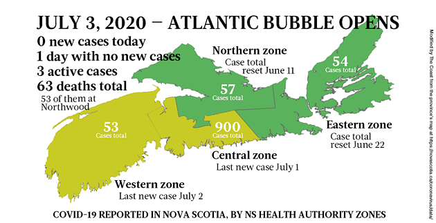 Map of COVID-19 cases in Nova Scotia as of July 3, 2020. - THE COAST