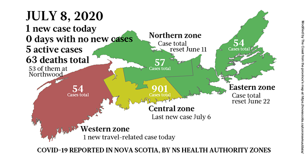 Map of COVID-19 cases reported in Nova Scotia as of July 8, 2020 - THE COAST