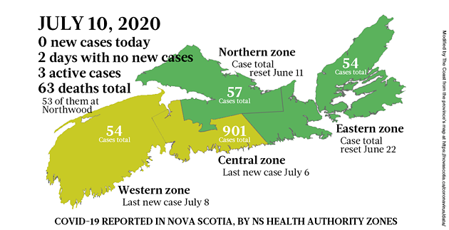 Map of COVID-19 cases reported in Nova Scotia as of July 10, 2020 - THE COAST