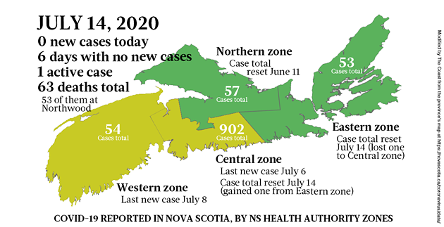 Map of COVID-19 cases reported in Nova Scotia as of July 14, 2020. - THE COAST