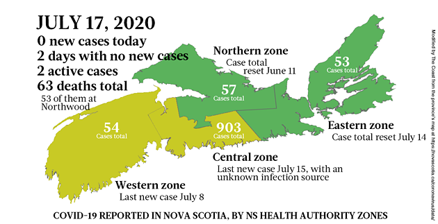 Map of COVID-19 cases reported in Nova Scotia as of July 17, 2020. - THE COAST