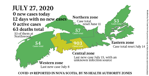 Map of COVID-19 cases reported in Nova Scotia as of July 27, 2020. - THE COAST