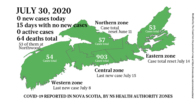 Map of COVID-19 cases reported in Nova Scotia as of July 30, 2020. - THE COAST