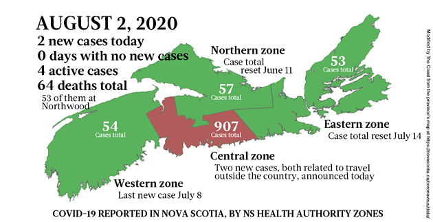 Map of COVID-19 cases reported in Nova Scotia as of August 2, 2020. - THE COAST