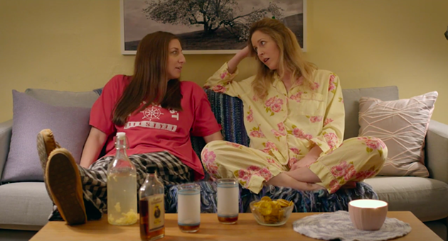 Peretti and Kent in the sleepover scene of Spinster. - FILM STILL