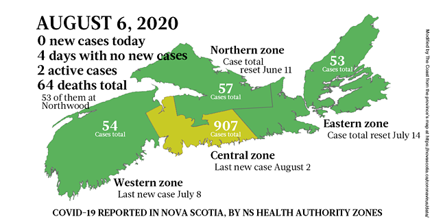 Map of COVID-19 cases reported in Nova Scotia as of August 6, 2020. - THE COAST