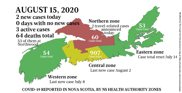 Map of COVID-19 cases reported in Nova Scotia as of August 15, 2020. - THE COAST