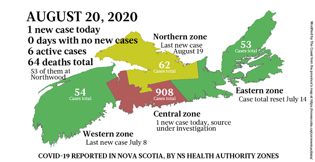 Map of COVID-19 cases reported in Nova Scotia as of August 20, 2020. - THE COAST