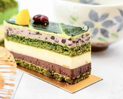 The Opera Cake includes 7 layers of matcha almond sponge cake, ganache,yuzu cream, and matcha buttercream. - TSUJIRI INSTAGRAM