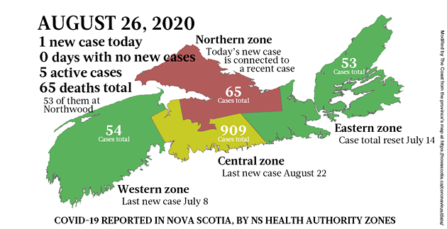 Map of COVID-19 cases reported in Nova Scotia as of August 26, 2020. - THE COAST