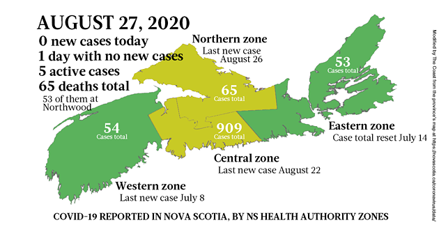 Map of COVID-19 cases reported in Nova Scotia as of August 27, 2020. - THE COAST