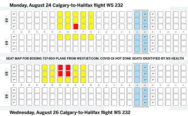 "There's been COVID-19 ""close contact"" to WS232 passengers in the yellow seats, likely from people in the red seats. - THE COAST"