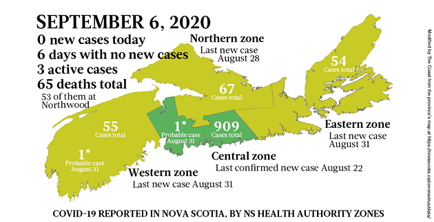 Map of COVID-19 cases reported in Nova Scotia as of September 6, 2020. - THE COAST