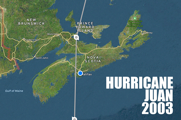 Hurricane Juan landed just west of Halifax when it arrived in September 2003. - HURRICANES PRO APP