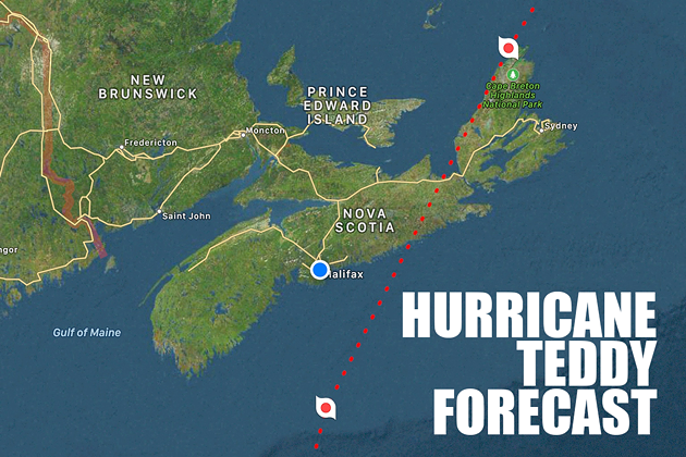 As of Tuesday night, Hurricane Teddy is forecast to make landfall east of Halifax around dawn Wednesday. - HURRICANES PRO APP