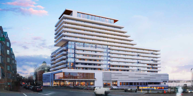 The proposed Cunard building would live in what's now a parking lot on the waterfront between Bishop's Landing and the Discovery Centre. - HRM