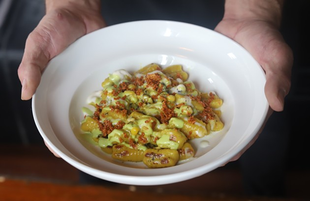 An autumn corn gnocchi with tajin, jalapeno and asiago, cooked up by chef Joel MacLellan. - VICTORIA WALTON