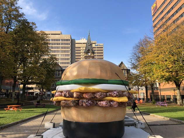 The giant burger was at Grand Parade to kick off Burger Week 2020. Look for it around town the rest of the week. - THE COAST