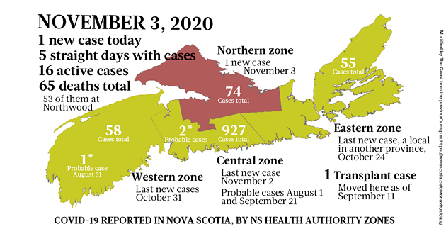 Map of COVID-19 cases reported in Nova Scotia as of November 3, 2020. Legend here. - THE COAST