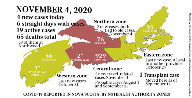 Map of COVID-19 cases reported in Nova Scotia as of November 4, 2020. Legend here. - THE COAST