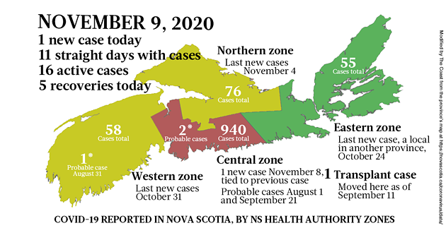 Map of COVID-19 cases reported in Nova Scotia as of November 9, 2020. Legend here. - THE COAST