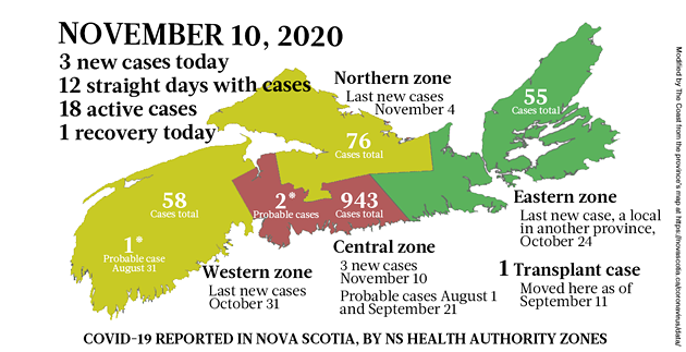 Map of COVID-19 cases reported in Nova Scotia as of November 10, 2020. Legend here. - THE COAST