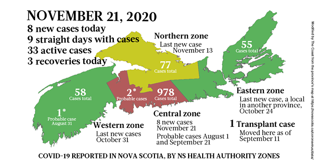 Map of COVID-19 cases reported in Nova Scotia as of November 21, 2020. Legend here. - THE COAST