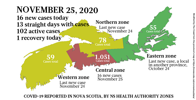 Map of COVID-19 cases reported in Nova Scotia as of November 25, 2020. Legend here. - THE COAST