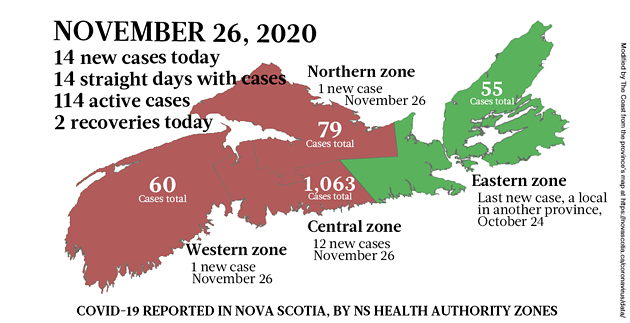 Map of COVID-19 cases reported in Nova Scotia as of November 26, 2020. Legend here. - THE COAST