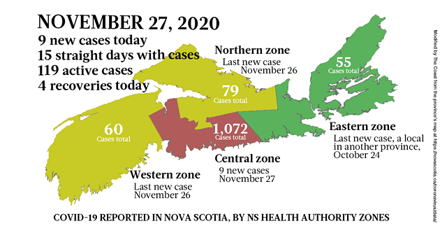 Map of COVID-19 cases reported in Nova Scotia as of November 27, 2020. Legend here. - THE COAST