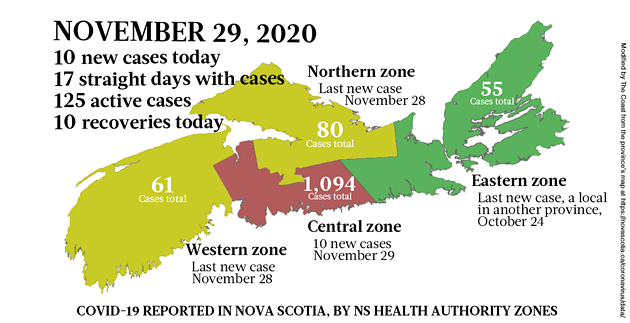 Map of COVID-19 cases reported in Nova Scotia as of November 29, 2020. Legend here. - THE COAST