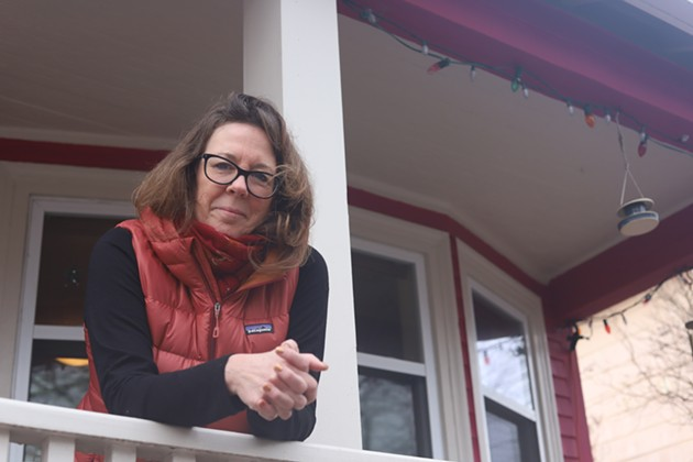 Sue Goyette celebrated the halfway point in her poetry advent calendar by having a socially distanced photo shoot with The Coast. - VICTORIA WALTON