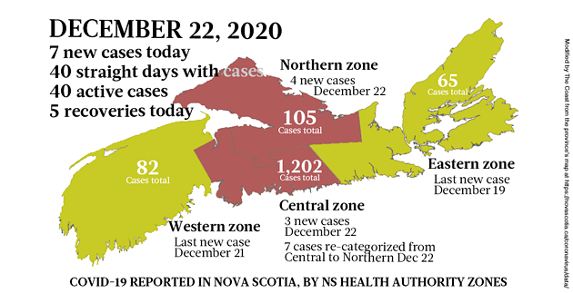 Map of COVID-19 cases reported in Nova Scotia as of December 22, 2020. Legend here. - THE COAST