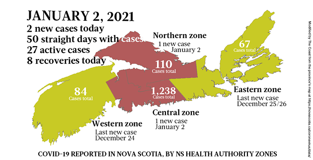 Map of COVID-19 cases reported in Nova Scotia as of January 2, 2021. Legend here. - THE COAST