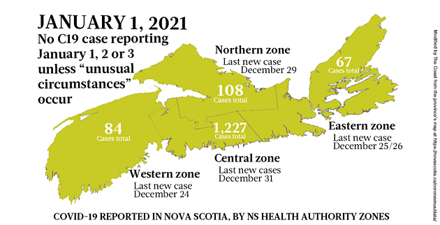 Map of COVID-19 cases in Nova Scotia as of January 1, 2021, when the province is taking a holiday break from reporting. Legend here. - THE COAST