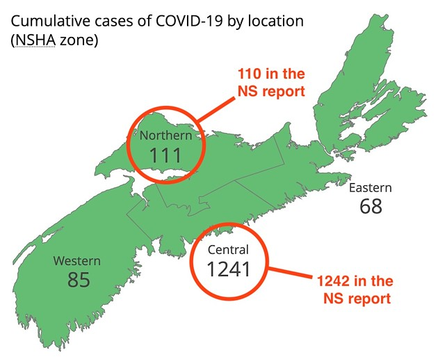 The province's map and the province's report have different numbers as of Monday evening. - SCREENSHOT FROM NOVASCOTIA.CA WITH COAST NOTES