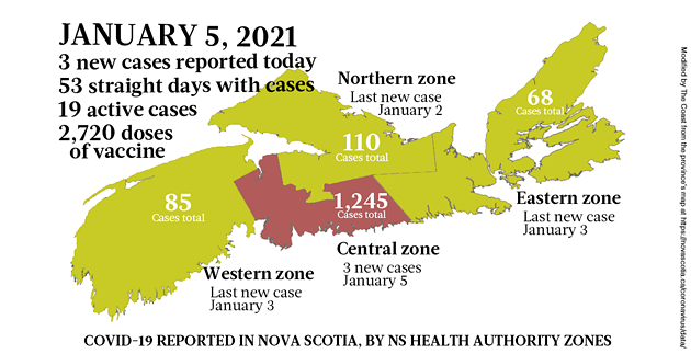 Map of COVID-19 cases reported in Nova Scotia as of January 5, 2021. Legend here. - THE COAST