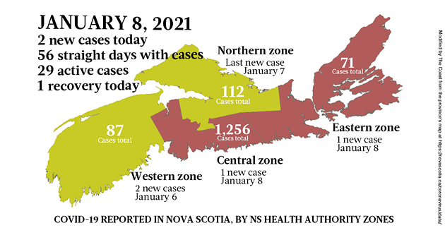 Map of COVID-19 cases reported in Nova Scotia as of January 8, 2021. Legend here. - THE COAST