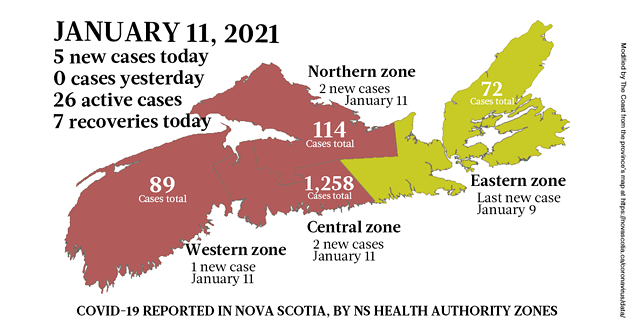 Map of COVID-19 cases reported in Nova Scotia as of January 11, 2021. Legend here. - THE COAST