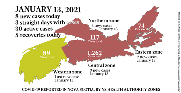 Map of COVID-19 cases reported in Nova Scotia as of January 13, 2021. Legend here. - THE COAST