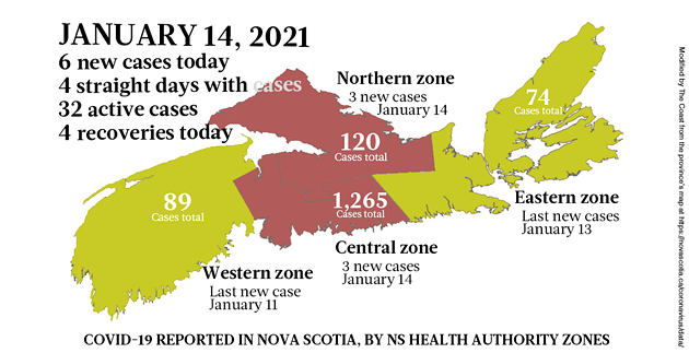 Map of COVID-19 cases reported in Nova Scotia as of January 14, 2021. Legend here. - THE COAST