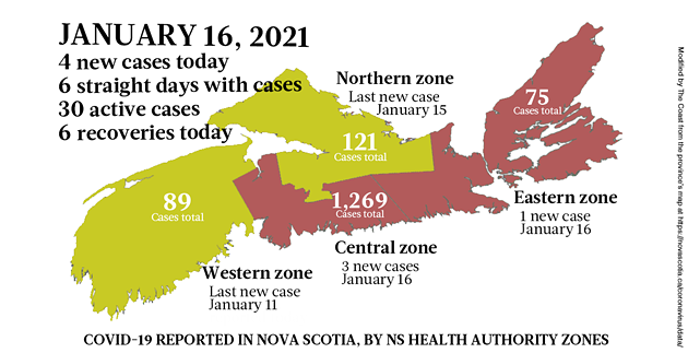 Map of COVID-19 cases reported in Nova Scotia as of January 16, 2021. Legend here. - THE COAST