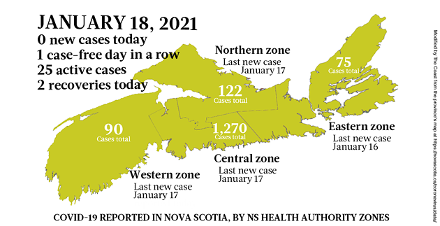 Map of COVID-19 cases reported in Nova Scotia as of January 18, 2021. Legend here. - THE COAST
