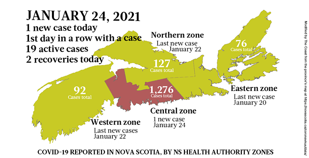 Map of COVID-19 cases reported in Nova Scotia as of January 24, 2021. Legend here. - THE COAST