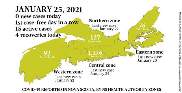 Map of COVID-19 cases reported in Nova Scotia as of January 25, 2021. Legend here. - THE COAST
